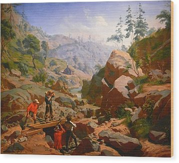 Miners In The Sierras Wood Print by Charles Nahl