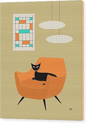 Mini Abstract With Orange Chair Wood Print