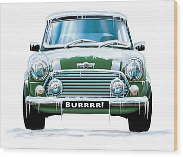 Mini Cooper On Ice Wood Print by David Kyte