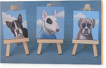 Mini Dog Portraits 2 Wood Print by Stuart Swartz