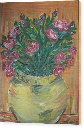 Wood Print featuring the painting Mini Roses by Teresa White