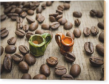 Miniature Coffee Cups Wood Print by Aged Pixel