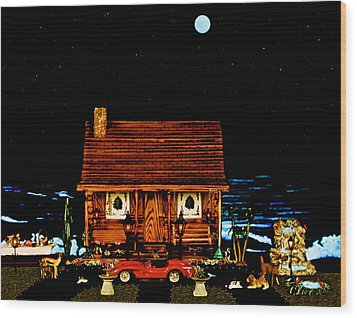 Miniature Log Cabin Scene With The Classic 1958 Ferrari 250 Testa Rossa In Color Wood Print by Leslie Crotty