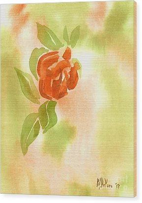 Wood Print featuring the painting Miniature Red Rose II by Kip DeVore
