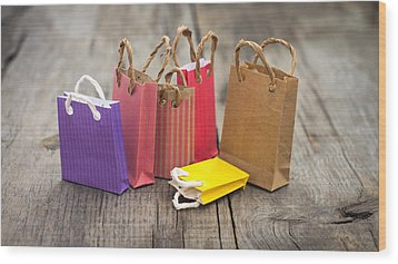 Miniature Shopping Bags Wood Print by Aged Pixel