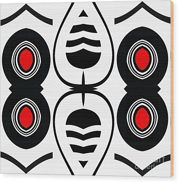 Minimalism Geometric Abstract Black White Red Art No.388.  Wood Print by Drinka Mercep