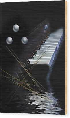 Wood Print featuring the digital art Minimalism Piano by Angel Jesus De la Fuente