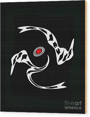 Minimalist Art Black White Red Print - Dance 2. Wood Print by Drinka Mercep