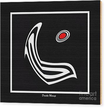 Minimalism Art Black White Red Print No.6 Wood Print by Drinka Mercep