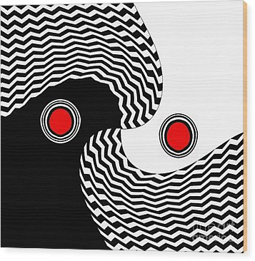 Minimalist Op Art Black White Red No.216 Wood Print by Drinka Mercep