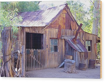Mining Cabin Wood Print by David Rizzo
