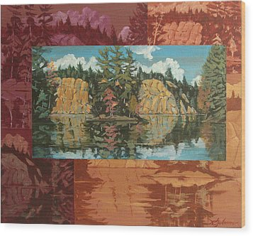 Mink Lake In Fall Wood Print