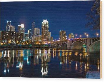 Minneapolis City Lights Wood Print by Mark Goodman