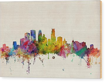 Minneapolis Minnesota Skyline Wood Print by Michael Tompsett