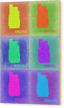 Minneapolis Pop Art Map 3 Wood Print by Naxart Studio