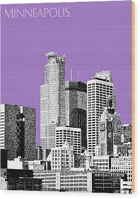 Minneapolis Skyline - Violet  Wood Print by DB Artist