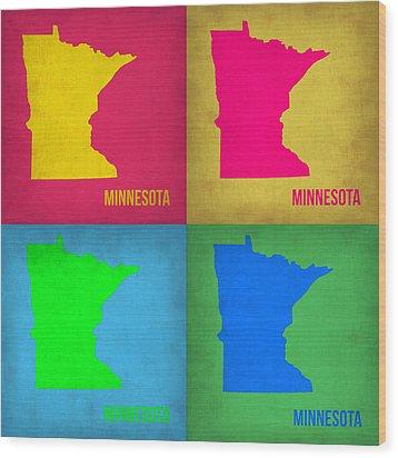 Minnesota Pop Art Map 1  Wood Print by Naxart Studio