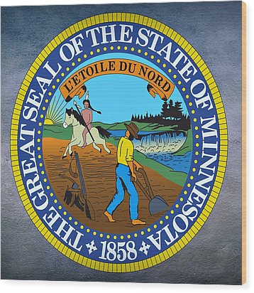 Minnesota State Seal Wood Print by Movie Poster Prints