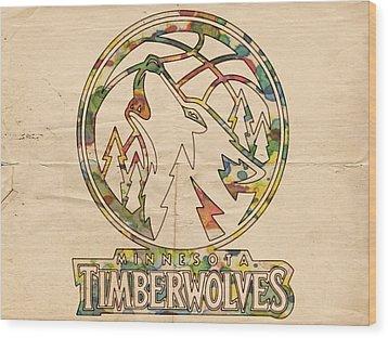 Minnesota Timberwolves Retro Poster Wood Print by Florian Rodarte