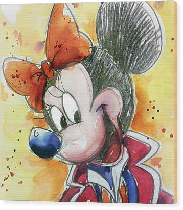 Minnie Mouse Wood Print by Andrew Fling
