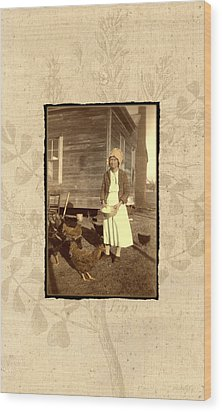Wood Print featuring the photograph Minnie's Chickens by Ron Crabb