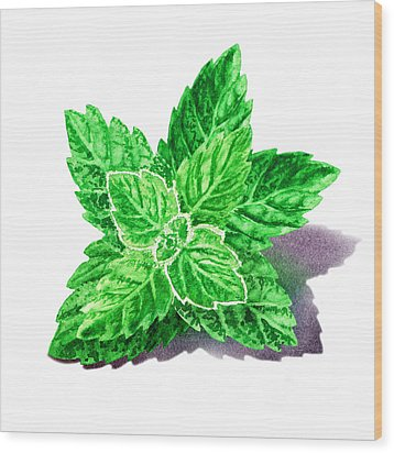 Wood Print featuring the painting Mint Leaves by Irina Sztukowski