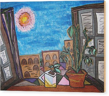 Mint Plant Tea Mediterranean  Wood Print by Lois Picasso