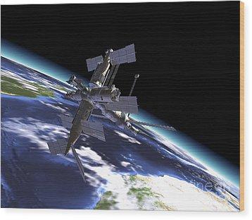 Mir Russian Space Station In Orbit Wood Print by Leonello Calvetti