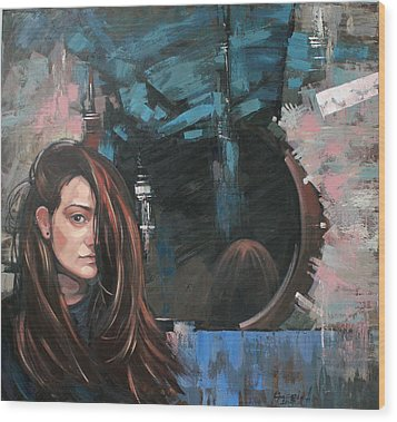 Wood Print featuring the painting Mirror by Anastasija Kraineva