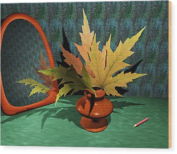 Mirror And Leaves Wood Print by Anastasiya Malakhova