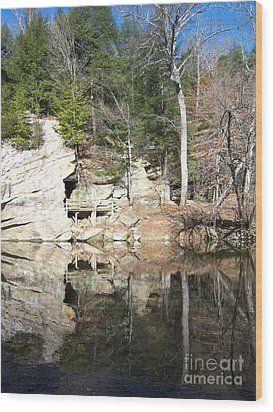 Sugar Creek Mirror Wood Print by Pamela Clements