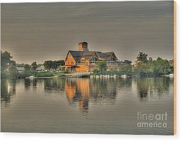 Wood Print featuring the photograph Mirrored Boat House by Jim Lepard