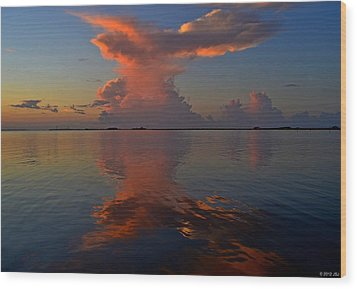 Mirrored Thunderstorm Over Navarre Beach At Sunrise On Sound Wood Print by Jeff at JSJ Photography