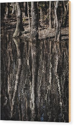 Wood Print featuring the photograph Mirrored Trees by Zoe Ferrie