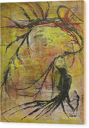 Wood Print featuring the painting Mischievous by Jane Chesnut
