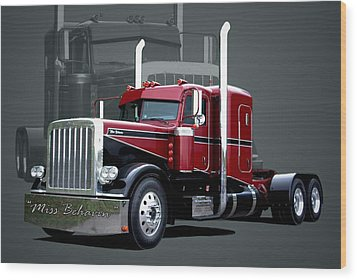 Miss Behavin 1990 Peterbilt Semi Truck Wood Print by Tim McCullough
