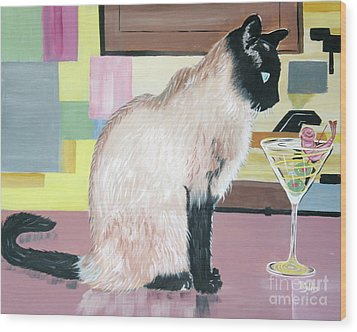 Wood Print featuring the painting Miss Kitty And Her Treat by Phyllis Kaltenbach