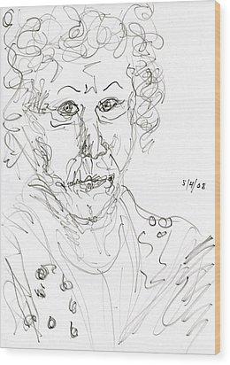 Miss Marple Sketch II Wood Print by Rachel Scott