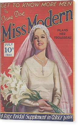Miss Modern 1931 1930s Uk   Brides Wood Print by The Advertising Archives