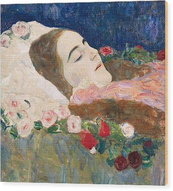 Miss Ria Munk On Her Deathbed Wood Print by Gustav Klimt