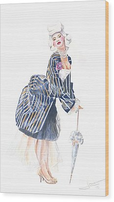 miss Ro co co Wood Print by Jovica Kostic