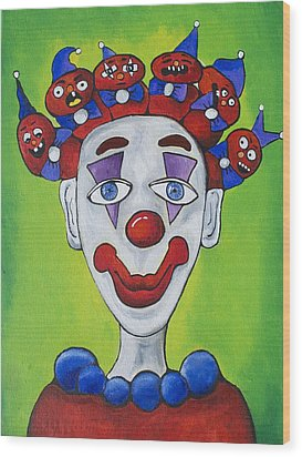 Miss.curly Clown Wood Print by Patricia Arroyo