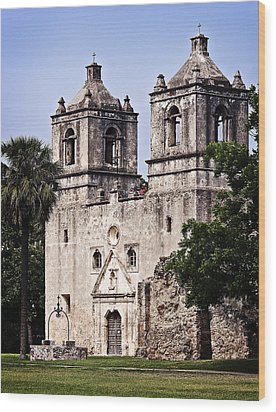 Wood Print featuring the photograph Mission Concepcion by Andy Crawford