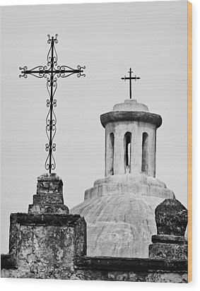 Wood Print featuring the photograph Mission Concepcion Crosses by Andy Crawford