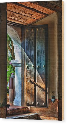 Mission Door Wood Print by Joan Carroll