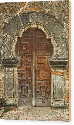 Wood Print featuring the photograph Mission Espada Door  by Olivia Hardwicke