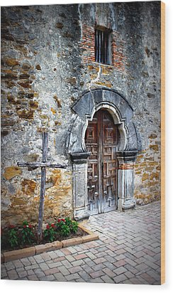 Mission Espada - Doorway Wood Print by Beth Vincent