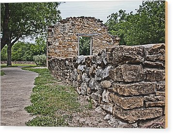 Wood Print featuring the photograph Mission Espada Ruins by Andy Crawford