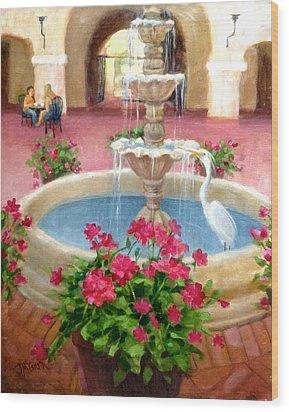 Mission Inn Fountain Wood Print by Janet McGrath