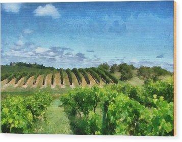 Mission Peninsula Vineyard Ll Wood Print by Michelle Calkins
